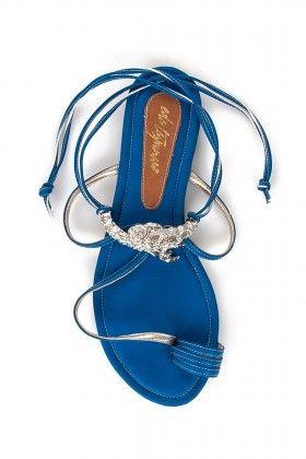 Eda Taşpınar Parmak Arası İpli Saks Mavi Sandalet: Lidyana.com