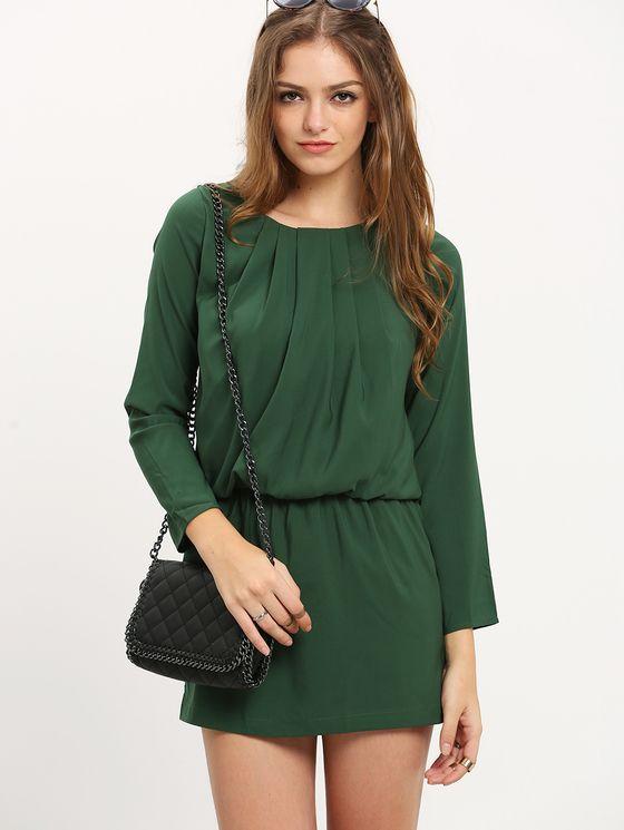 Dark Green Long Sleeve Dress   MakeMeChic.COM Mobile Site