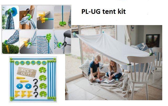 Bouw zelf je mooiste tent met een  PL-UG Tent Kit en gebruik de dingen om je heen , zoals stoelen, ramen, vensterbanken en bijzettafeltjes. Maak de haak, stok, klem of zuignap vast, monteer de grip en haal  het doek er door. Laat je fantasie de vrije loop en bouw in je kamer of buiten in de tuin een tent met een oud laken of dekbedovertrek. Elke dag een andere tent. Plak met de zuignap een grip aan het raam, met de haak een grip aan je bed en met de schroefklem een grip aan je boekenplank.