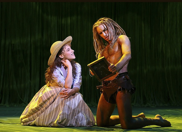Jenn Gambatese as Jane and Josh Strickland as the Ape Man in Disney's Broadway version of TARZAN