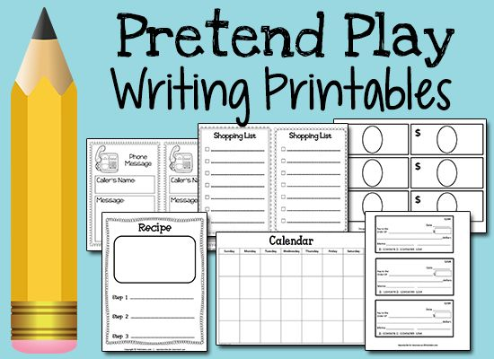 Pretend Play Writing Printables - writing practice for preschool, pre-k children
