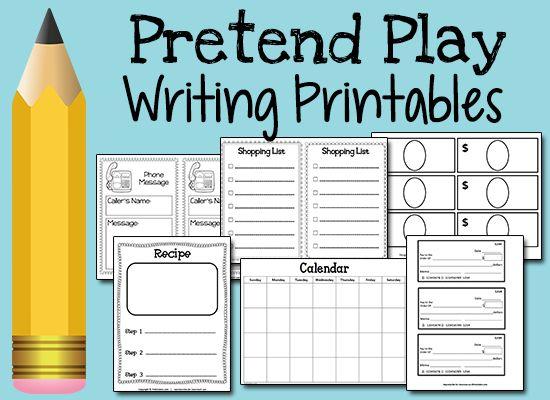 Pretend Play Writing Printables - writing practice for preschool, pre-k children