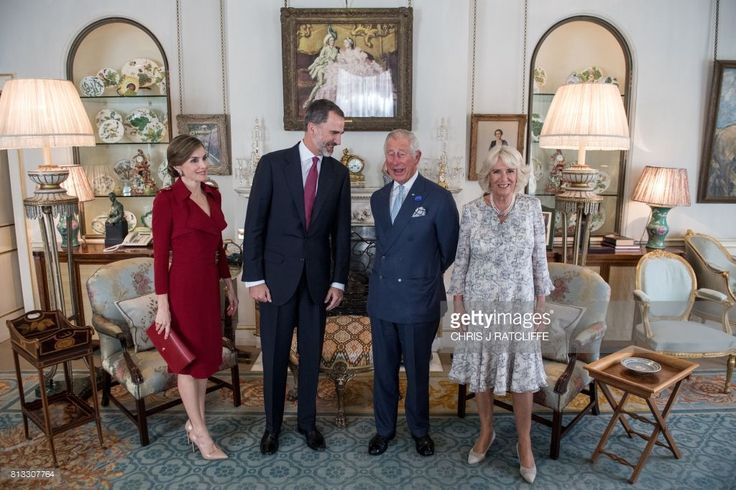 Spanish King Felipe VI (2nd L) and Queen Letizia (L) talk with with Britain's Prince Charles, Prince of Wales and Britain's Camilla, Duchess of Cornwall (R) at Clarence House in central London on July 12, 2017, on the first day of the Spanish King's three day state visit. Spanish King Felipe VI and Queen Letizia began a state visit to Britain on Wednesday, as the two countries attempt to strengthen ties despite tensions over Britain's plans to leave the European Union. /