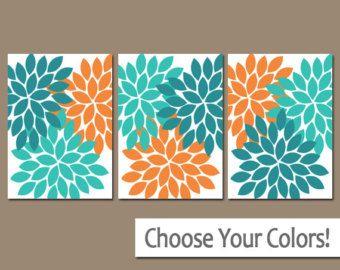 Turquoise Orange Bedroom Pictures- CANVAS or Prints Bathroom Artwork- Bedroom Wall Art- Flower Pictures- Flower Burst Set of 3 Home Decor