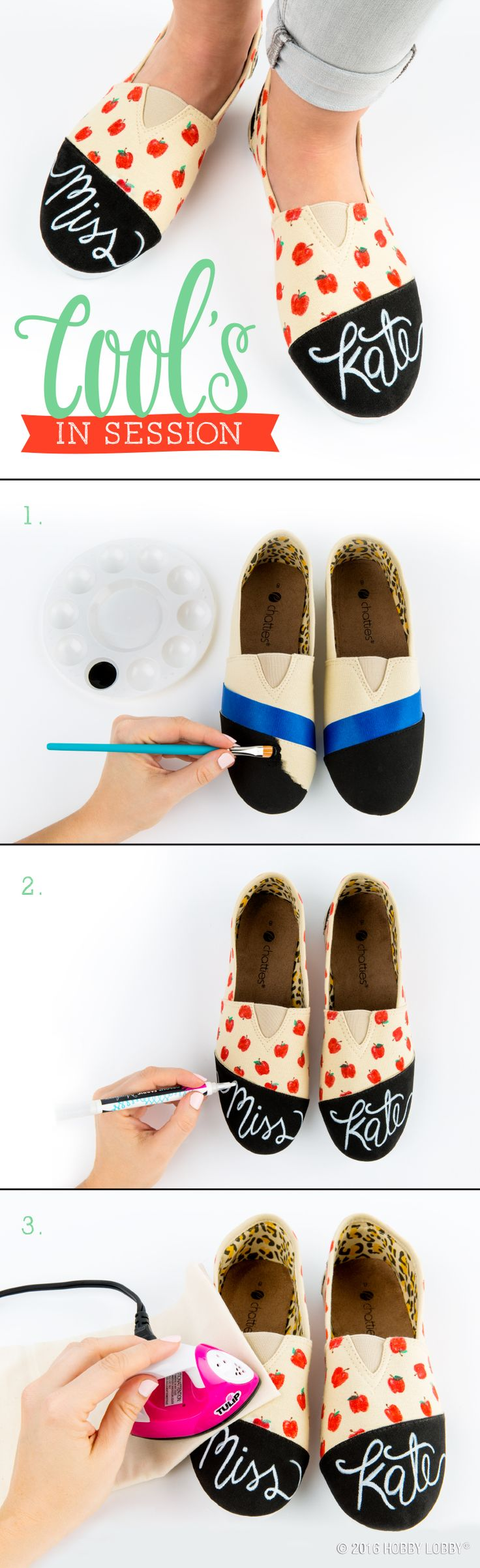 Wear your masterpieces by adding your own personal style to canvas shoes with paint and fabric markers!