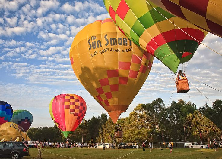 Australia Day hot air balloons in the park.