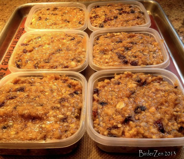 simple basic recipe for home-made suet cakes ~ 2 parts fat, 2 parts cornmeal, 1 part peanut butter & then any other dried fruit, nuts & seeds you want to add