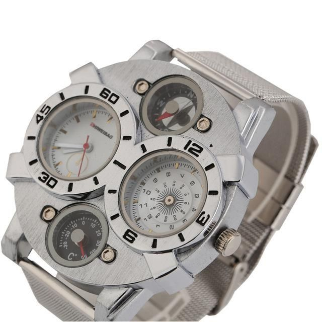 Shiweibao Mens Watches Men Top Luxury Brand Quartz Wristwatches Full Seel Mesh Strap Two Time Zones Analog Military Watch Man