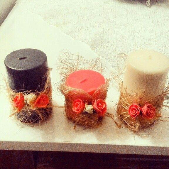 Turning seperate simple candles into a decorative trio.. İ get the idea from an online shopping website, it's quite easy..