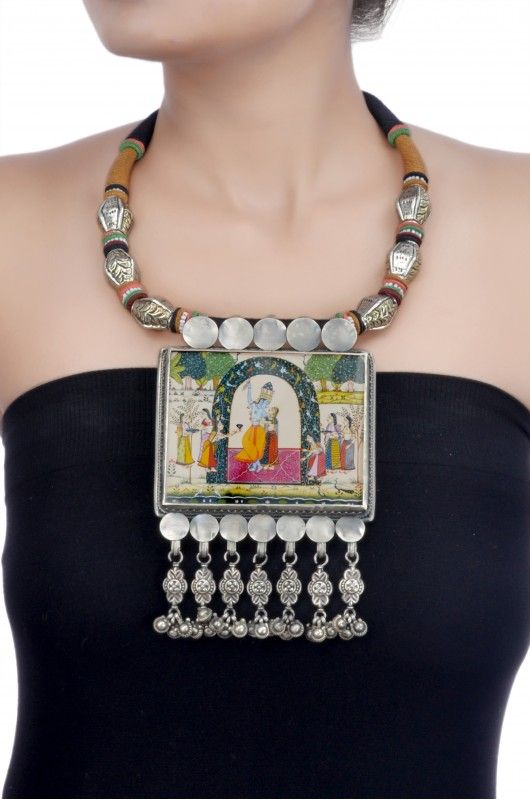 Amrapali Silver Hand Painted Radha-Krishna Thread Necklace