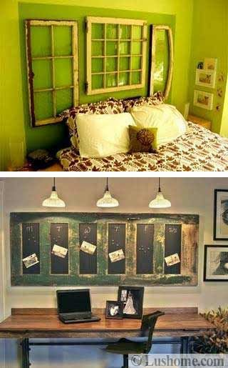 The top picture they should have made one simple headboard.  Bottom one the green was just to dark.  The chalk paint just looks like blacked out windows because of it!
