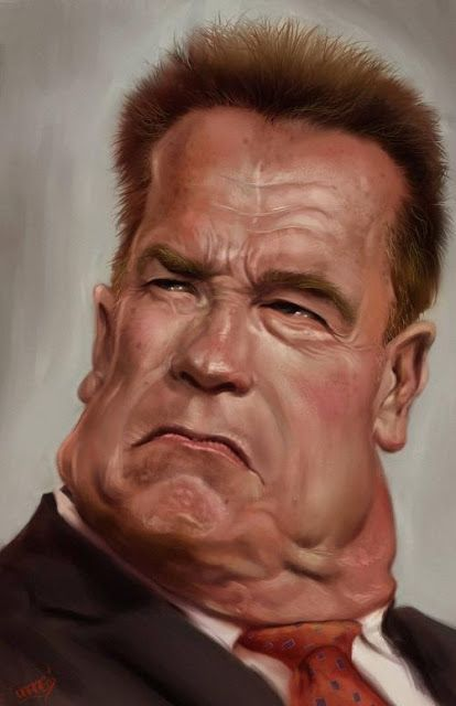 """Caricatura del actor Arnold Schwarzenegger, realizada por el artista Rafael Rivera """"Daraf"""