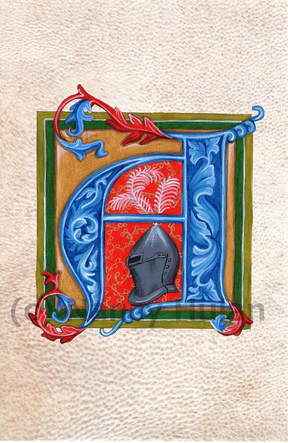 Medieval Illuminated Letter A    This is an archival 4 x 6 print of my original artwork, painted in acrylics on goatskin parchment. It shows a