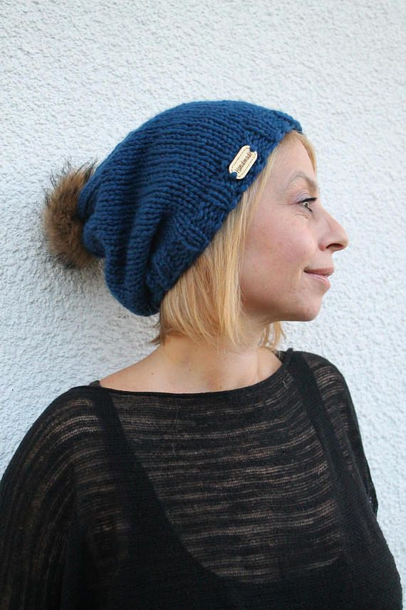7ac444c1248a3 Hand Knit Beanie Womens Pom Pom Hat Knit Hat for Adults
