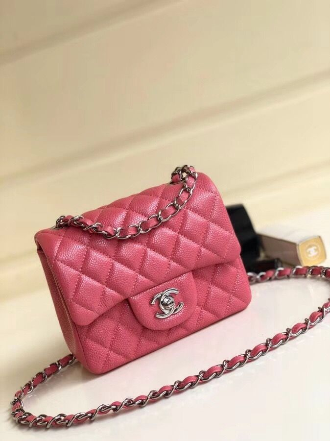6806ce2ce0b55b Chanel Quilting Pearl Caviar Calfskin Mini Square Classic Flap Bag Rosy 2018