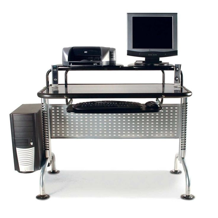 Furniture, Stunning Computer Desk Design Inspiration With Beautiful Black  Glass Countertop And Stylish Stainless Legs For Modern Concept: Modern  Computer ...