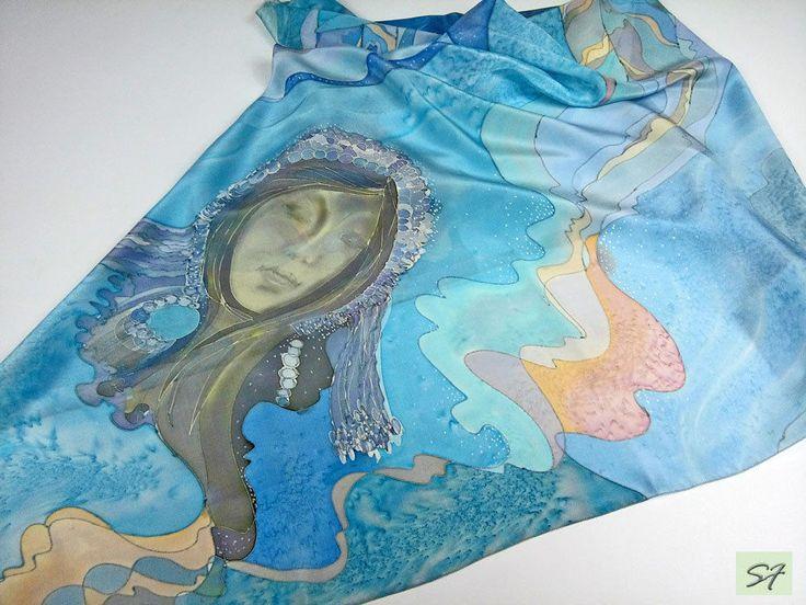 Уникальная ручная роспись шелковый квадратный шарф, подарок для женщины, богини дождя, синий шарф, батик, подарок жене маме подруге, Носимых искусства SilkFantazi на etsy