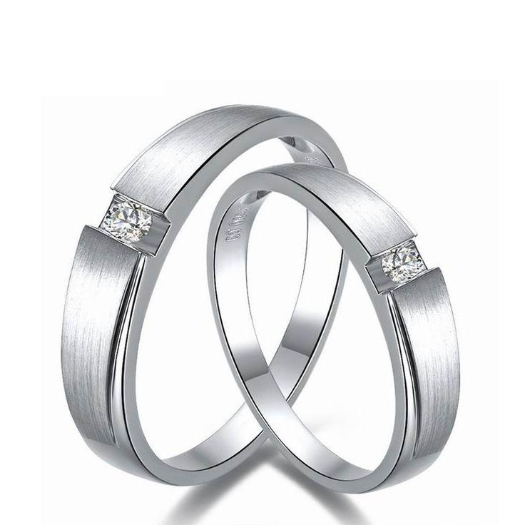 0.06ct/men 0.03ct/women Diamond Ring 18K White Gold Wedding Rings Couple Set Genuine Gold Engagement Ring Wedding Band
