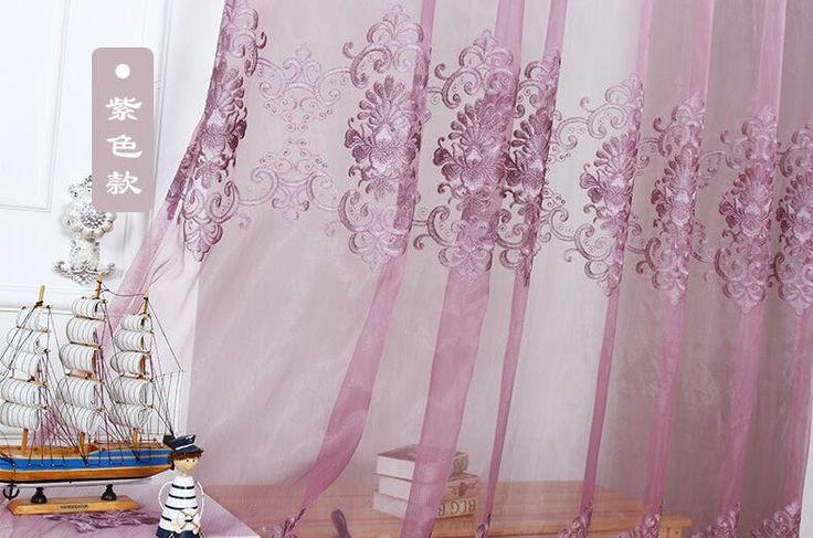 Aliexpress.com: Outlets & Factory Wholesaleより信頼できる 紫色のかつら サプライヤからヨーロッパ クラシック スタイル エレガント形状刺繍半透明な ボイル カーテン用寝室の バルコニー wp160 #15を購入します