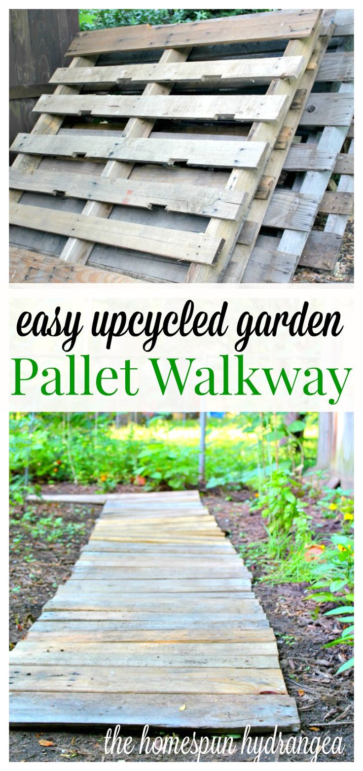 Create a walkway in your garden by upcycling wood pallets.