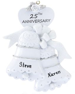 25th Anniversary Bells Christmas Ornaments Wedding Engagement