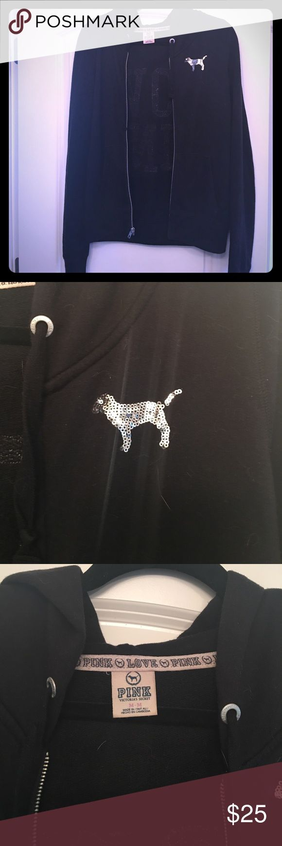 Victoria's Secret PINK animal print hoodie In great condition! Zipper still works perfectly. Nice long sleeves and not too heavy so can be worn year round. PINK Victoria's Secret Tops Sweatshirts & Hoodies