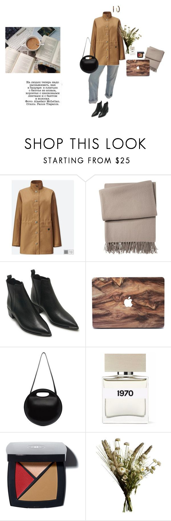 """""""Untitled #300"""" by palina-parker ❤ liked on Polyvore featuring Uniqlo, Yves Delorme, Acne Studios, Lemaire, Bella Freud, Abigail Ahern and Michael Kors"""