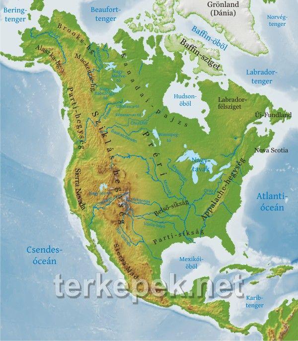 Észak-Amerika térkép