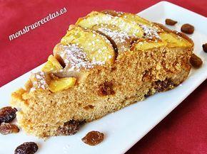 Receta de Bizcocho de canela, manzana y pasas. Pastel ligero, perfecto para los que siguen una dieta sana y equilibrada.