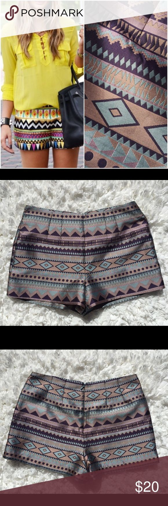"""Love 21 Aztec Tribal Print Dressy Shorts size S Gorgeous Love 21 Aztec Tribal Print Dressy Shorts size S. Shorts are lined. Zips up back and has hook/eye closure. Waist approx 30"""". Style photo is not mine and is for style suggestions only. 0222173250pc Love 21 Shorts"""