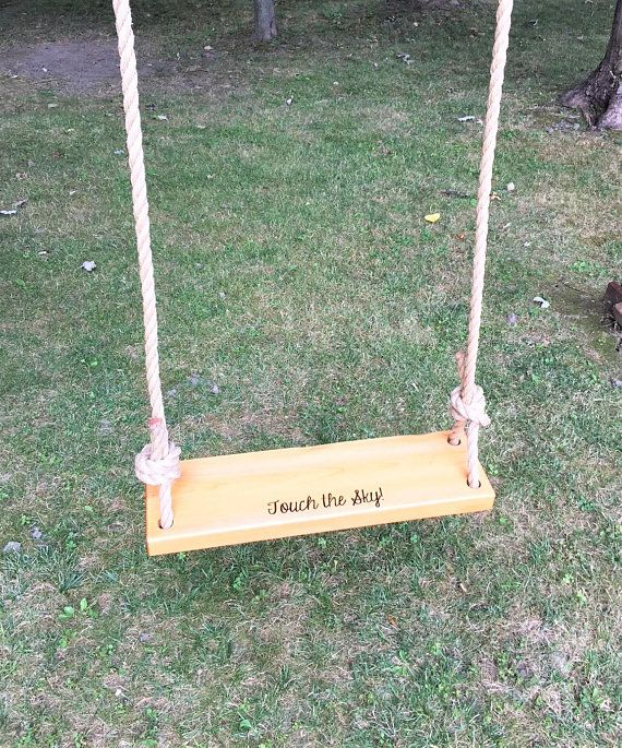 Touch The Sky Rectangle Wooden Tree Swing Outdoor Wooden Etsy Wooden Tree Swing Outdoor Wooden Swing Tree Swing