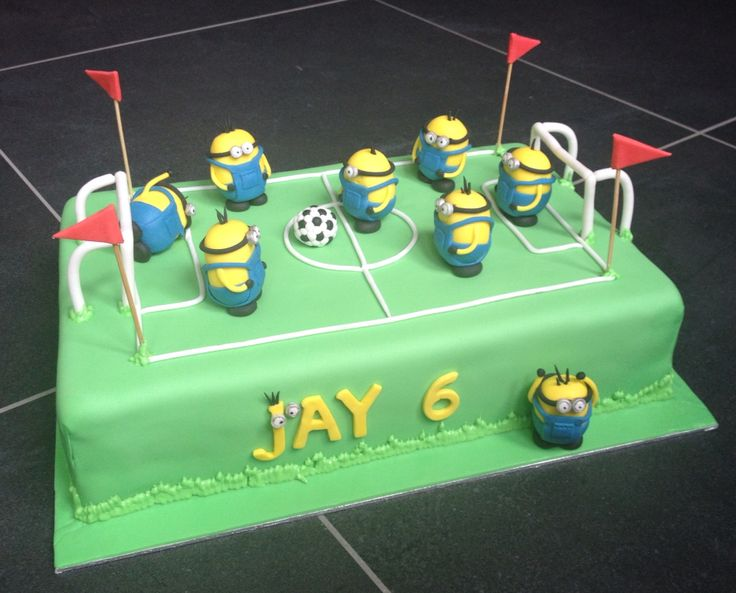 Minions playing soccer, soccer cake - voetbal minions