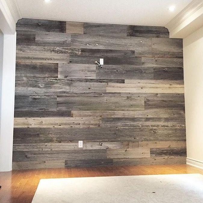 Gorgeous grey barn board feature wall