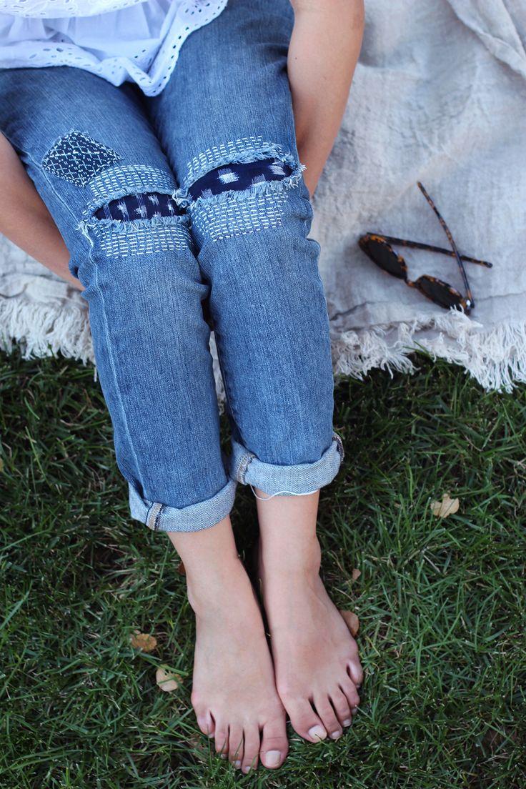 Este tipo de remiendos con puntadas m gustan para los pantalones d brais. Estoy probando esto. No tengo claro el color d los remiendos d las rodillas