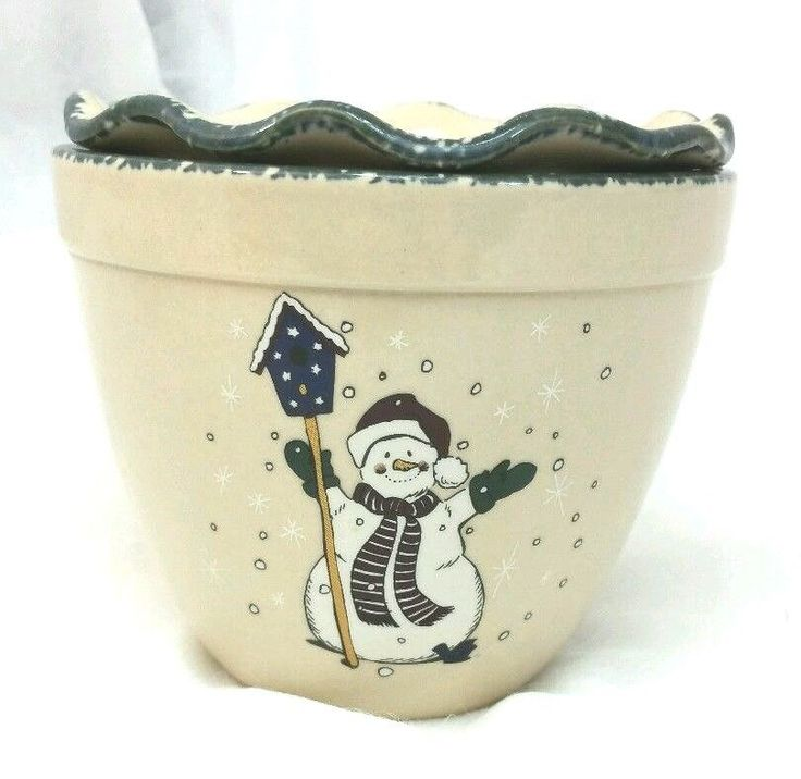Home And Garden Party Cool Dip Snowman Winter Stoneware Chiller Cooler Bowl  2003