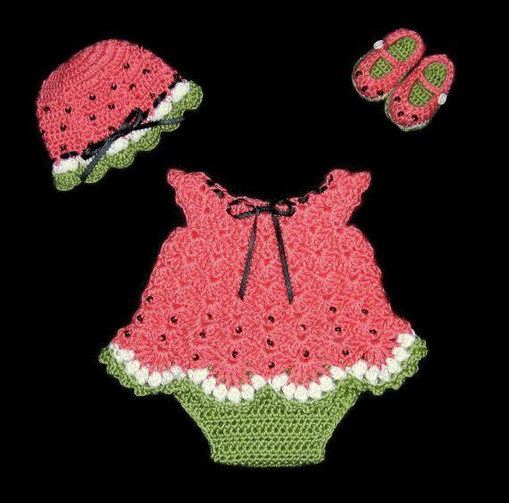 This is made to order. Please check my shipping times under the shipping button before ordering.  Perfect baby shower gift. Set includes dress, hat, shoes and diaper cover. Crocheted with watermelon, green and white soft acrylic yarn and trimmed with a black satin ribbon. Actual color may vary slightly from what your computer monitor shows. Shoes button with a strap. Fully washable - hand wash recommended. This outfit is made to order. Please specify size. I offer newborn up to 12 months.