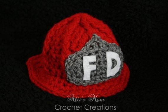 Crochet Fireman Hat. $20.00, via Etsy.
