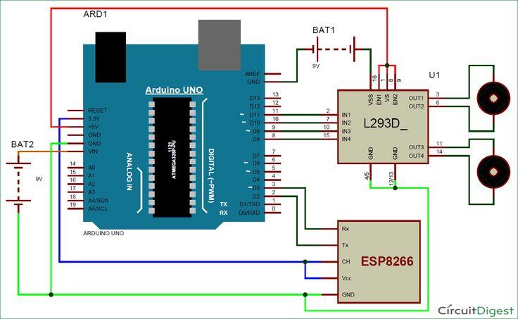 Wi-Fi Controlled Mobile Robot circuit diagram