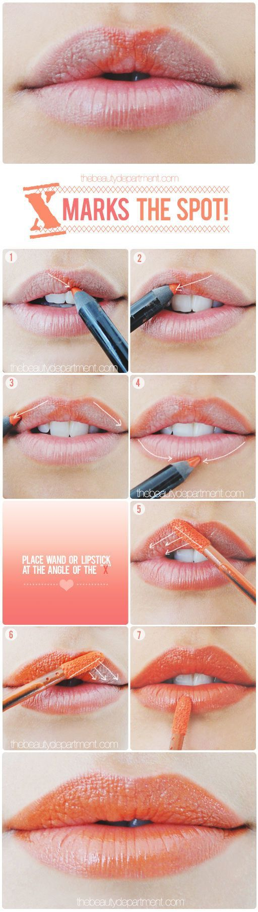 "Get a perfect Cupid's bow — and a perfect line of color all around the edges of your lips — by using a lip liner to make an ""x"" on your upper lip."