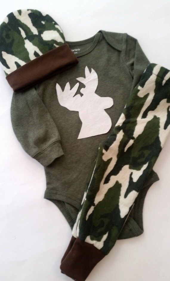 Baby Boy Camo Outfit, Antler Outfit, Deer, Elk, Baby Boy Pant Set, Take Home Outfit, Baby Boy Hunting Outfit, Little Hunter, Daddys Boy by TwiceAsNiceBaby on Etsy https://www.etsy.com/listing/261157484/baby-boy-camo-outfit-antler-outfit-deer
