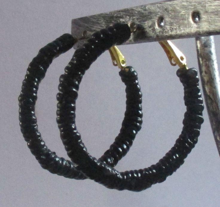 boucles d oreilles anneaux créoles fimo pâte polymère torsade noire cadeau noël