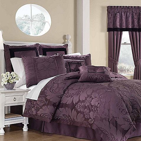 Dress your bed in opulence with the luxurious Lorenzo 8-Piece Comforter Set. The beautiful soft purple bedding showcases traditional overscale damask with rich velvet accents to add a lavish look in any room.