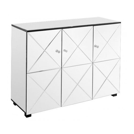 From Furniture In Fashion With A Unique Design And Perfect Outlook The Mirrored Three Door Large Sideboard Is