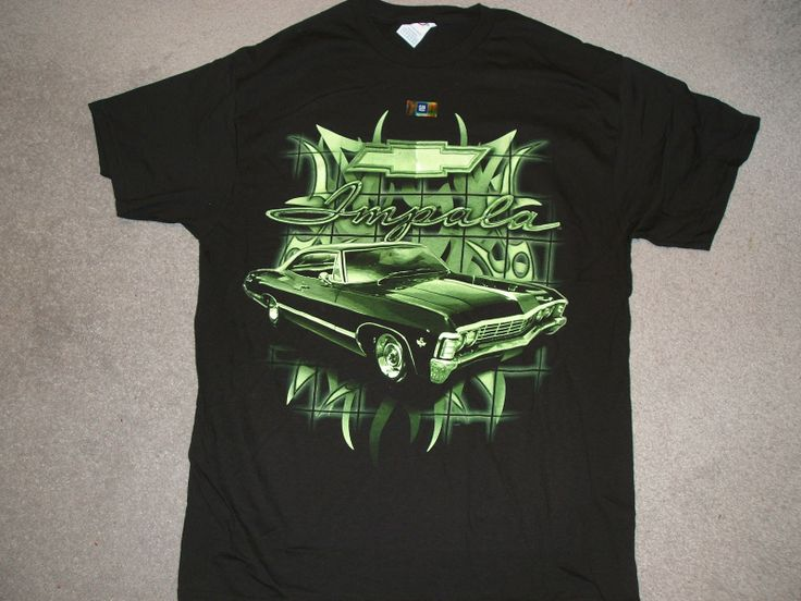 on a new black large tee shirt chjevy mean green impala on the front of a new large black tee shirtalso in extra largejust a few left