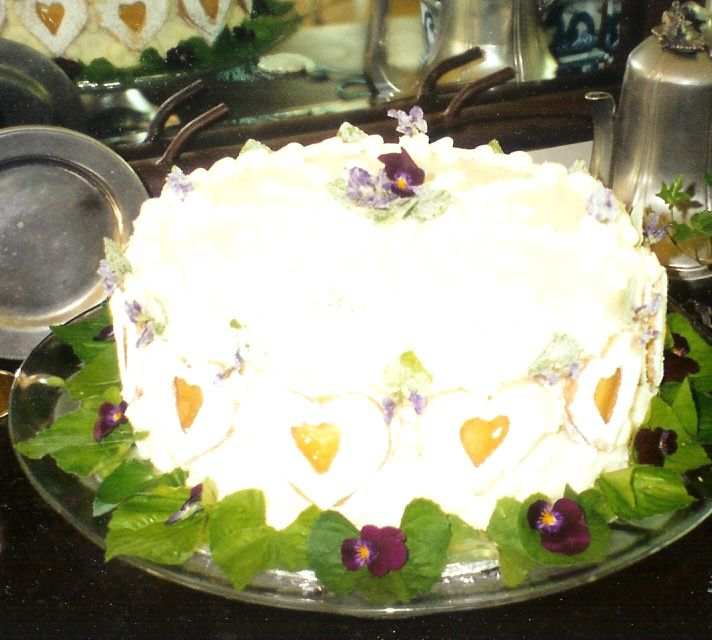 Vanilla Cake with Vanilla Butter Creme...decorated with Violets....