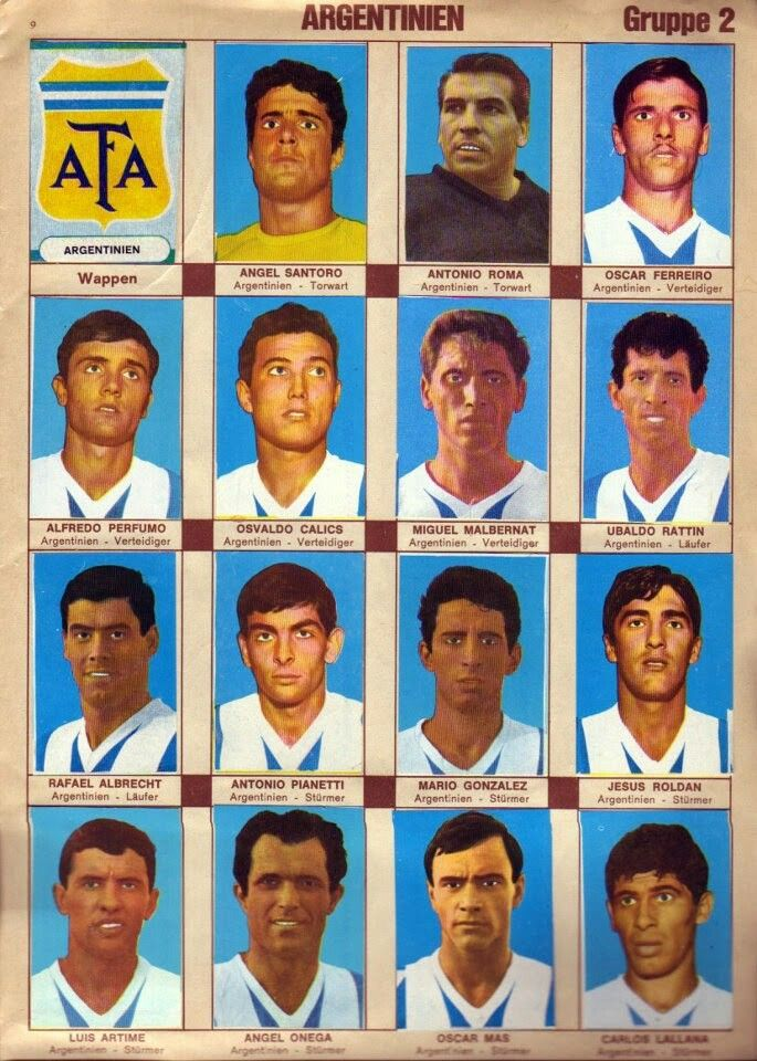 Argentina team stickers for the 1966 World Cup Finals.
