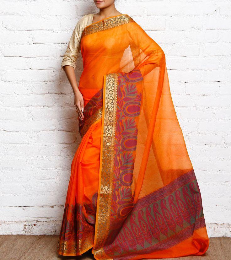 Orange Cotton Silk Banarasi Saree
