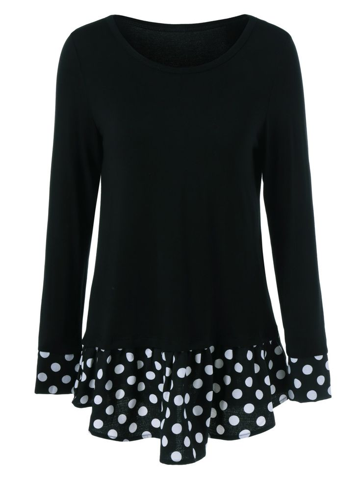 $9.47 for Flounced Polka Dot Patchwork T-Shirt in Black | Sammydress.com