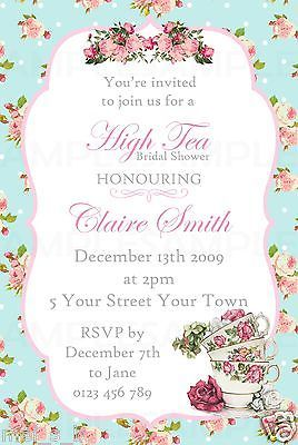 Kitchen Tea Bridal Shower Vintage Shabby Chic Invitation PRINTED Inc Magn/Env #4