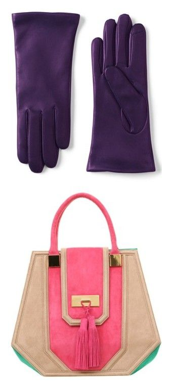 """Accessories"" by onesweetthing ❤ liked on Polyvore featuring accessories, gloves, purple, purple leather gloves, lands end gloves, lands' end, leather gloves, purple gloves and bags"